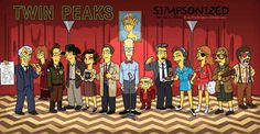 """""""Twin Peaks"""" Characters Drawn As """"The Simpsons"""""""