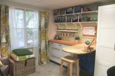 Bright, clean and organized – this craft room is ready for creating, relaxing, and display!