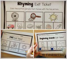 Kindergarten Exit Tickets for Literacy