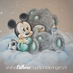 Baby Boy Room Decor, Baby Room Art, Baby Boy Rooms, Mickey Mouse Kunst, Mickey Mouse Images, Baby Mickey, Mickey Minnie Mouse, Clipart Baby, Bambi Disney