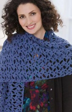 "Romantic Lacy Shawl - Wrap measures 20"" wide x 64"" long. This amazing shawl pattern has only two rows.  You'll love how quickly you can crochet it – especally when you need a gift or wrap in a hurry. RH ""Soft Yarn"": 2 balls Mid Blue.  Crochet Hook: K/10.5/6.5mm   free pdf"