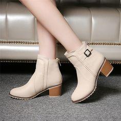 플러스 사이즈 34-43 새로운 가을 겨울 짧은 실린더 부츠 하이힐 부츠 마틴 부츠 여성 패션 지퍼 가죽 발목 부츠
