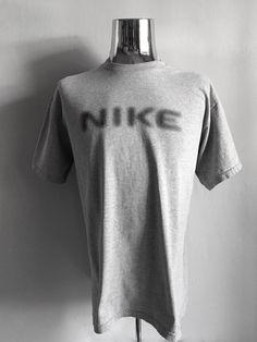 Vintage Men's 80's Nike T Shirt, Grey, Cotton, Polyester, Short Sleeve (XL) by Freshandswanky on Etsy