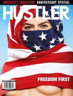 Model Wearing American Flag as Hijab on Magazine Cover Shows Underboob Revista Hustler, Hustler Magazine, Larry Flynt, Playboy Enterprises, Penthouses Magazine, Propaganda Art, Chicano Art, Thing 1, Fantasy Movies
