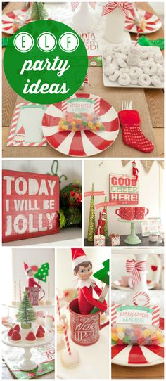 A fun red and green North Pole breakfast party celebrating a magical Christmas elf! See more party planning ideas at CatchMyParty.com!