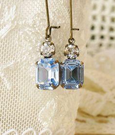 Vintage Swarovski Light Sapphire Crystal Earrings by Heidisjewels