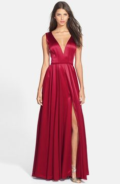 Halston Heritage Satin Fit & Flare Gown available at #Nordstrom