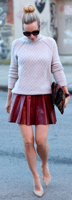 Alice + Olivia Pleat leather Skirt by Brooklyn Blonde can be part of classy fall