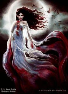 Vampire by MartaEmilia on deviantART on We Heart It Art Vampire, Vampire Love, Female Vampire, Gothic Vampire, Vampire Girls, Dark Gothic, Gothic Art, Vampire Fangs, Dark Fantasy Art