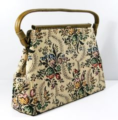 1960s Tapestry Purse Dover Handbags USA Floral by Flourisheshome