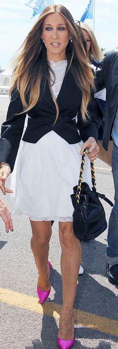White lace dress, black blazer and pink pumps