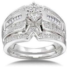 1/2 Carat Diamond 14kt White Gold Round Cluster Bridal Set - Walmart.com