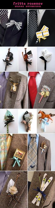 Maybe a Bycicle Inspired one? Creative, alternative wedding boutonnieres for grooms and groomsmen from Fritts Rosenow