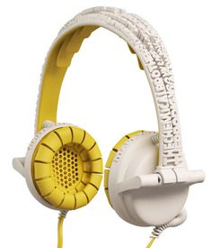 Yellow and white lettering headphones