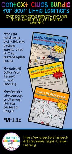 """RF.1.4c  When teaching your youngest readers how to use context clues, this product is a must have. Teach how to skip a word and read on to the end of the sentence and asking """"Does this make sense?"""" is crucial for emergent readers. This cost savings bundle includes my #1 seller and you will save 20% with this bundle.  Perfect for whole and small group, as well as literacy centers and Daily 5."""