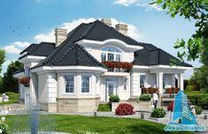 What a pretty house! Unique House Design, House Front Design, Dream Home Design, Bungalow Style House, Bungalow Haus Design, Bohemian House, Style At Home, Building A Cabin, Rest House