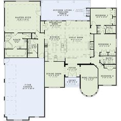 European Style House Plan - 4 Beds 3 Baths 3022 Sq/Ft Plan #17-2438 Floor Plan - Main Floor Plan - Houseplans.com