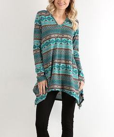 Loving this Mint Geometric Hooded Side-Tail Tunic on #zulily! #zulilyfinds