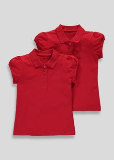 817236db9 Girls 2 Pack Embroided School Polo Shirts (3-13yrs) School Polo Shirts