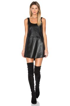 BLAQUE LABEL Leather Tank Dress in 黑色 | REVOLVE