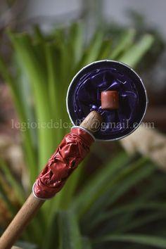 Puntale per capelli legno e capsule rosa e viola