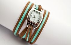 Turquoise brown wrap watch  soft suede bicolor by VillaSorgenfrei, $31.90