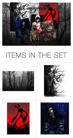"""""""Creepypasta logo (contest entry)"""" by howlingwaffle ❤ liked on Polyvore featuring art"""
