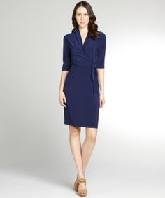 Tahari : navy jersey 'Lisa' wrap dress : style # 324065401.