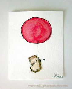Hedgehog floating on a red balloon,  Go To www.likegossip.com to get more Gossip News!