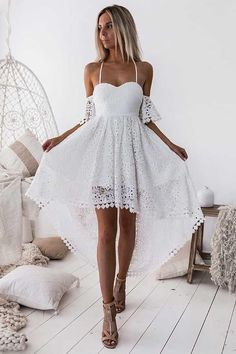 Prom Dress Short, White Homecoming Dress, Homecoming Dress Cheap, Lace Prom Dress, White Lace Prom Dress Prom Dresses 2019 Hot Sale Beautiful Lace White Homecoming Dress A-Line Straps Off-the-shoulder High Low White Lace Homecoming Dress Wite Prom Dresses, White Homecoming Dresses Short, High Low Prom Dresses, Prom Dresses For Teens, Backless Prom Dresses, Dresses Dresses, Short White Dresses, Homecoming Outfits, Dresses Online