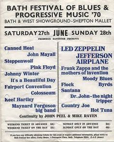 Led Zeppelin: A handbill for the 'Bath Festival of Blues & Progressive Music June Fairport Convention, Band Posters, Music Posters, Rock Posters, John Mayall, Vintage Concert Posters, Free Concerts, Canned Heat, Retro Pop