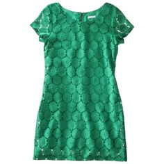 Xhilaration® Juniors Cap Sleeve Sheath Dress - Perfect for Spring or work with a schoolboy blazer over it and thin belt. Green Lace Dresses, Navy Blue Dresses, Green Dress, Nice Dresses, Honeymoon Style, Nye Dress, Got The Look, Lace Sheath Dress, Dresses With Leggings