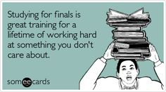 Studying for finals is great training for a lifetime of working hard at something you don't care about.