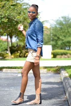 Weekend Wear: Denim Shirt & Khaki Chino Shorts + Gladiator Sandals