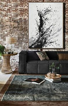 CZ ART DESIGN - Hand-painted black, white, grey, minimalist painting on canvas. Minimal Art Drip Painting #DH29B