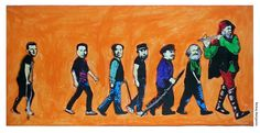 He who pays the piper calls the tune. Friedrich Engels, Karl Marx, Vladimir Lenin, Fidel Castro, Mao Zedong, Pol Pot, Nicolae Ceausescu   mixed media on board