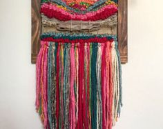 Made in Chile with wool, burlap, wood and driftwood from Lago Puyehue. It takes me three weeks to do it and three more weeks to arrive to you. Paper Weaving, Weaving Art, Loom Weaving, Tapestry Weaving, Hand Weaving, Weaving Wall Hanging, Wall Hangings, Yarn Wall Art, Weaving Projects