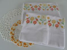 Pineapple House Antiques ~ Vintage Cross-Stitch & Embroidered Pillowcases!