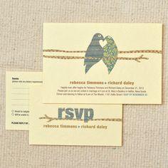 Printable Wedding Invitation & RSVP Postcard - Country Chic / Woodland Lovebirds
