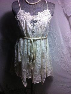 Upcycled clothing  Romantic Dress Boho Dress Eco Dress Medium Large Slip  Dress Tattered  Dress  Recycled Upcycled Pixie Gypsy Beach