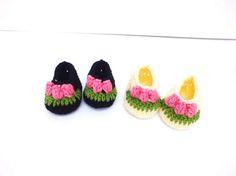 Baby Booties Crochet Baby Booties Flower by SuninVIRGOCreations