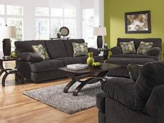 Living Room- Jackson Catnapper- Armstrong-4502. This sofa group is offered as shown in an Graphite Colored textured chenille consisting of 100% polyester. This upholstery is both durable and easy to clean, making it ideal for active households.