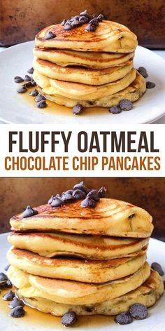 Oat Flour Chocolate Chip Pancakes - The Dish On Healthy - Pancake Recipes Pancakes Végétaliens, Chocolate Pancakes, Chocolate Chip Oatmeal, Oat Pancakes Vegan, Waffles, Banana Oatmeal Pancakes, Oat Muffins, Whole Wheat Pancakes, Gluten Free Pancakes