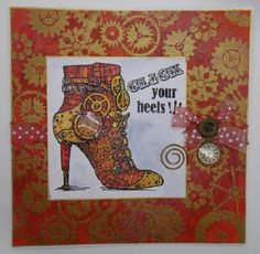 Kim x: Click your Heels. Fantastic card from Kim Reygate using Stampendous and Dreamweaver! ♥