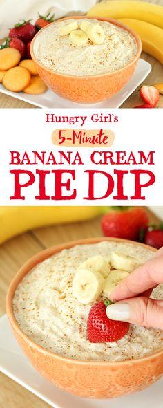 Healthy Banana Cream Pie Dip More Dessert Dip Recipes Hungry Girl Healthy Sweet Snacks, Healthy Snacks For Diabetics, Healthy Desserts, Healthy Dip Recipes, Healthy Dips, Skinny Recipes, Eat Healthy, Ww Desserts, Dessert Dips