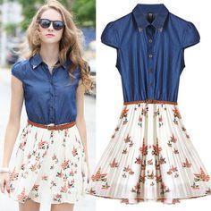 $30.00   Floral Chiffon stitching denim skirt MY0120FY