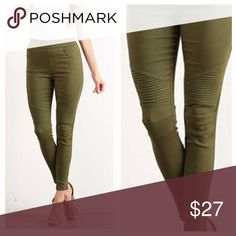 Olive Green Stretch Moto Jeggings Olive green jeggings have pockets in the front and back, fabric stretches for a great fit. Waist band stretches to slip on. EVIEcarche Pants
