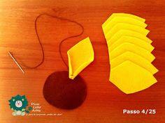 Eu Amo Artesanato: Flor Girassol em Feltro com molde Punch Needle, Mango, Fruit, Belem, Salvador, Embroidery Bags, Felt Dolls, Sunflower Flower, Sunflower Party