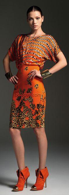 Blumarine Orange & Leopard Print Dress Animalistic Fashion #UNIQUE_WOMENS_FASHION