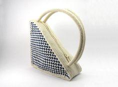 Малый Вязание сумка треугольник Кошелек Ретро стиль сумка сумка Бежевый Белый Голубой Уникальный Геометрическая Дизайнер кошелек - CB0001 - Aimarro